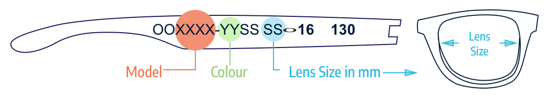 Identify lens color and lens size Oakley
